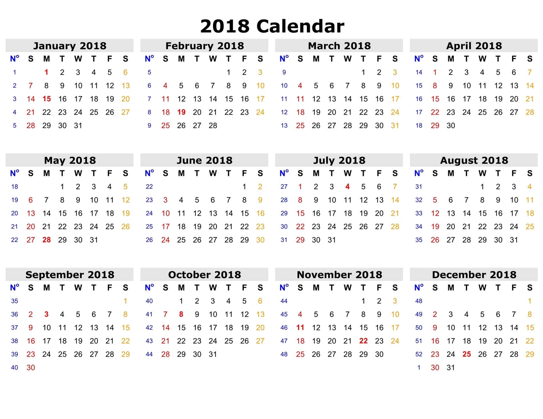 picture regarding Www.printablecalendars.com � Www.freeprintable.net identified as Cost-free Printable Calendars 2018 Recreation Shelter
