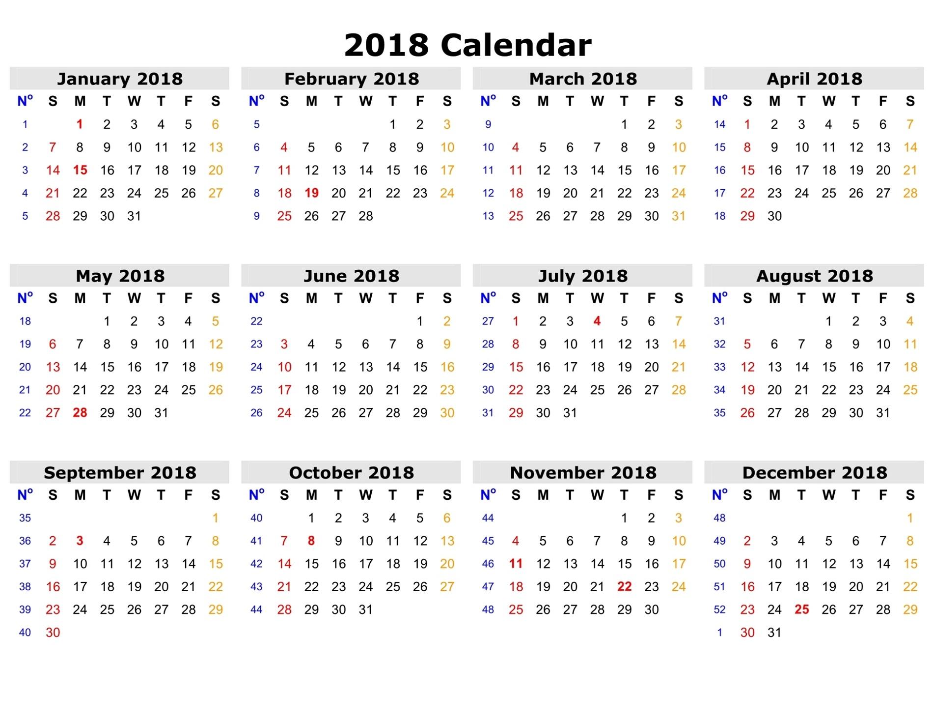 Free Printable Calendars 2018 Full