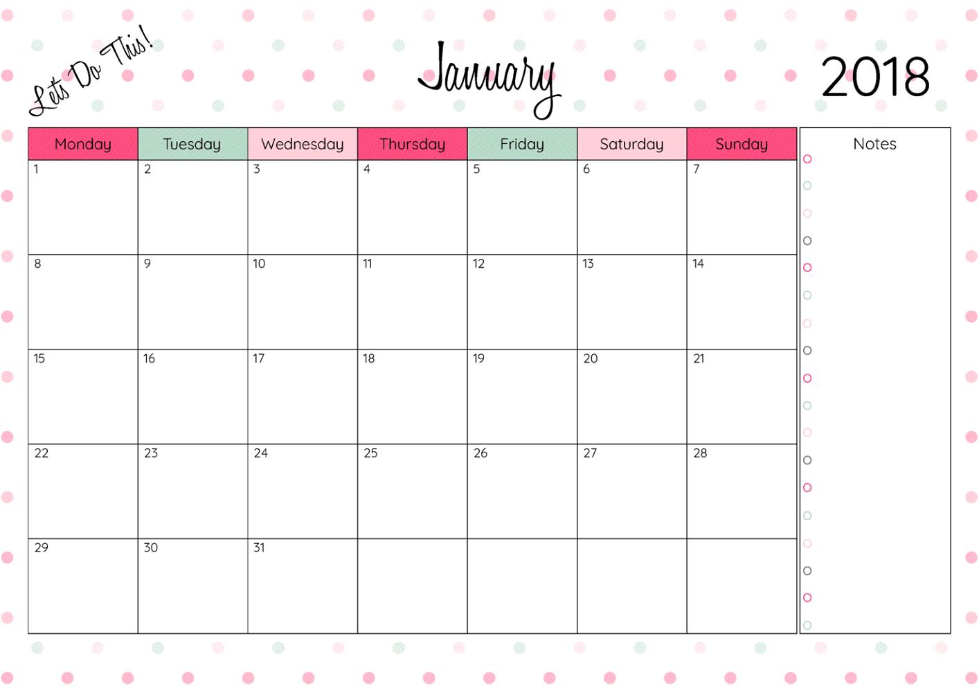 Free Printable Calendars 2018 January