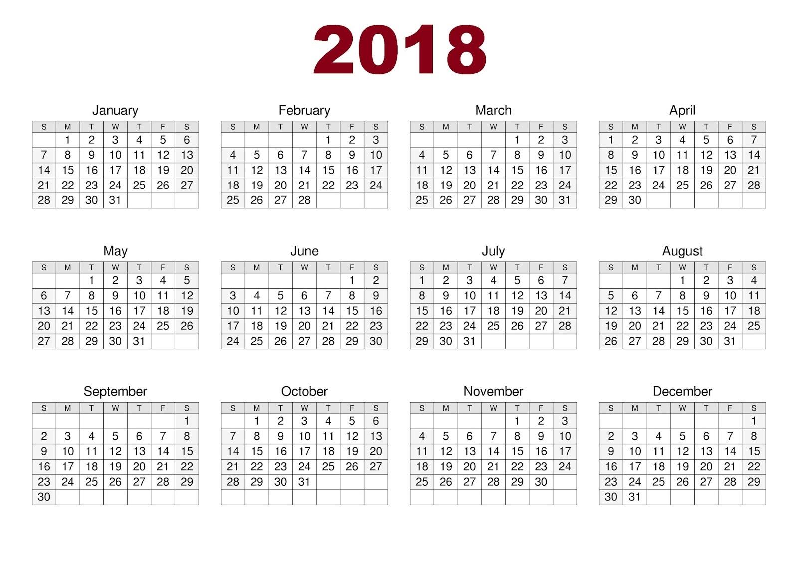 Free Printable Calendars 2018 New
