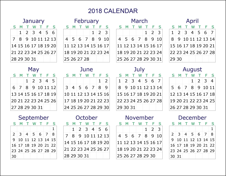 Free Printable Calendars 2018 Transparan