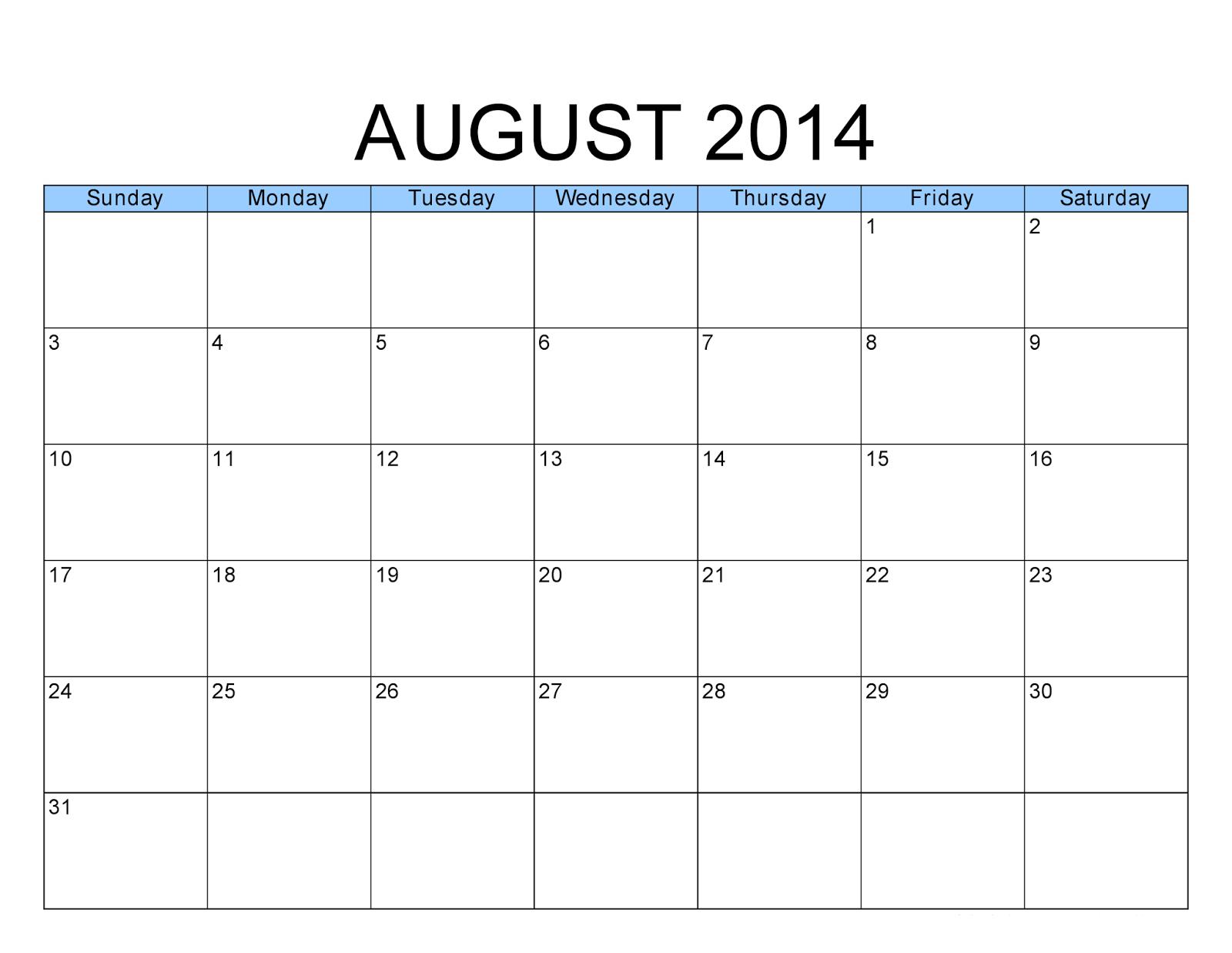 Printable Calendar 2014