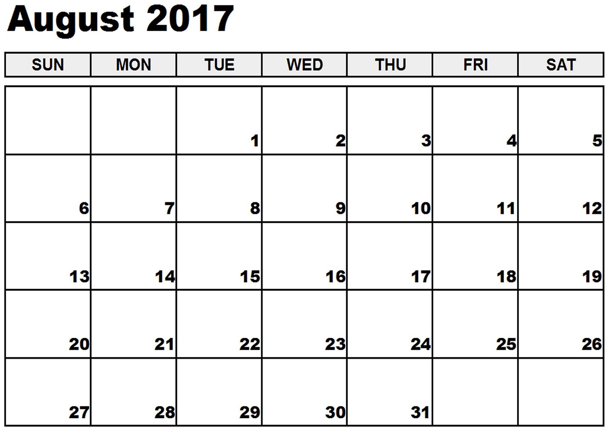 Printable Calendar August