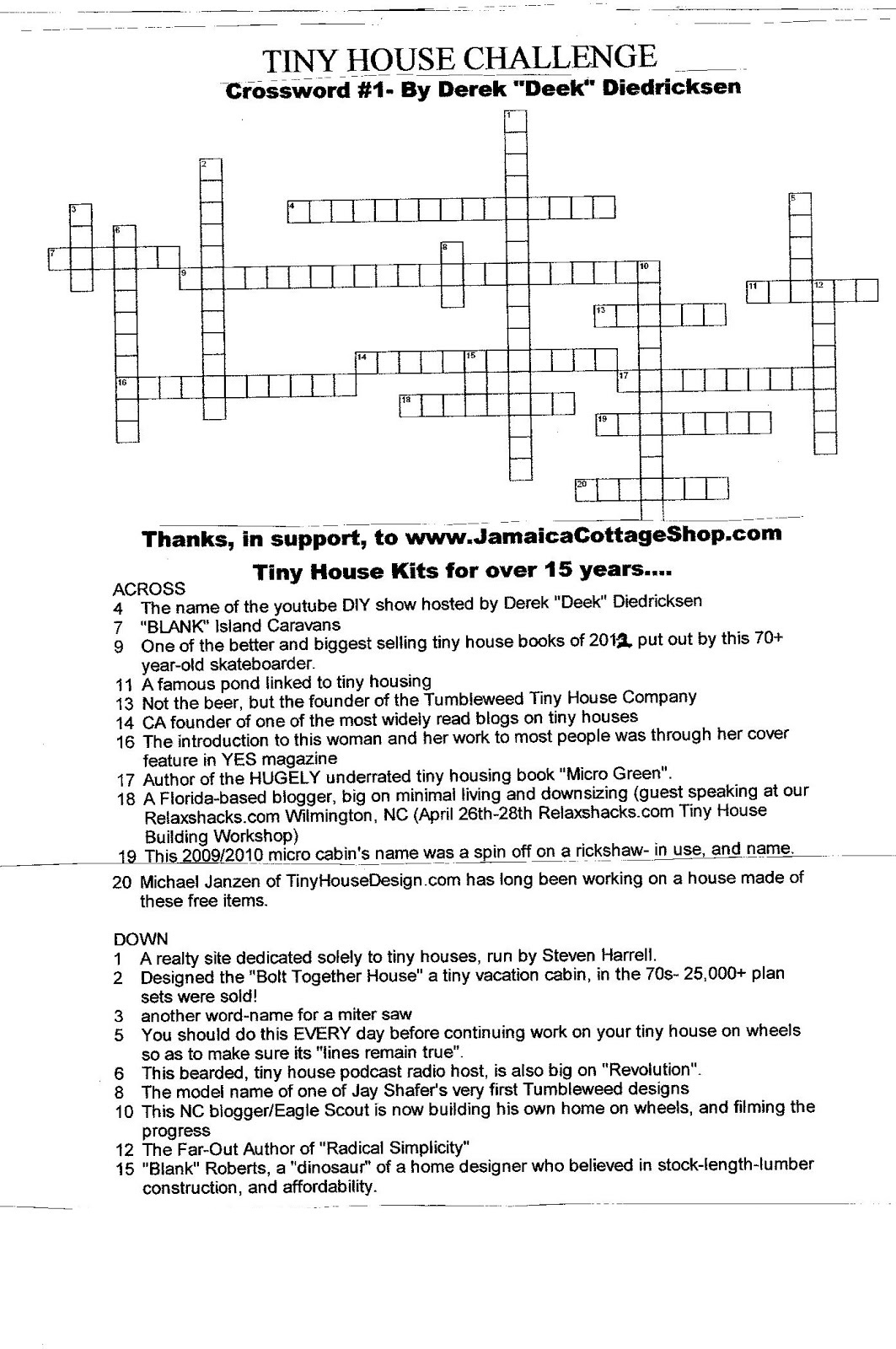 Very Small Crossword Challenge
