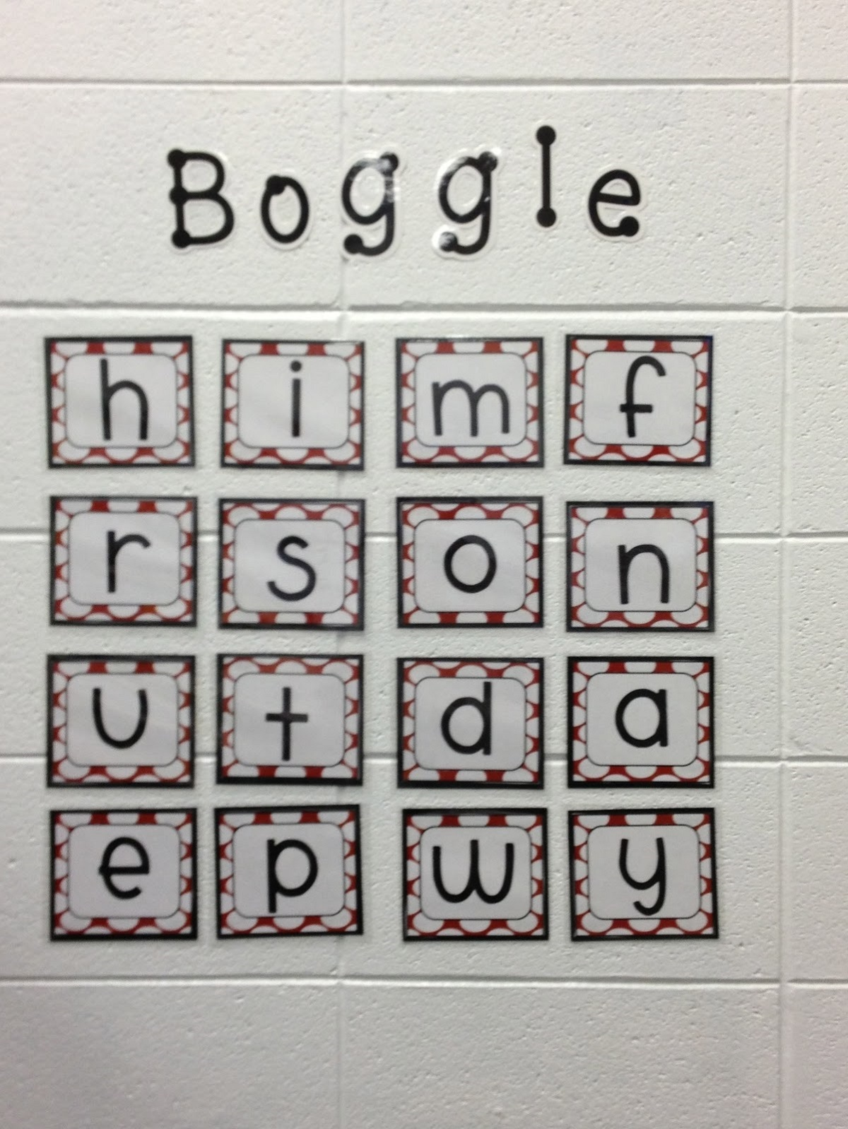 Word Games Boggle Board