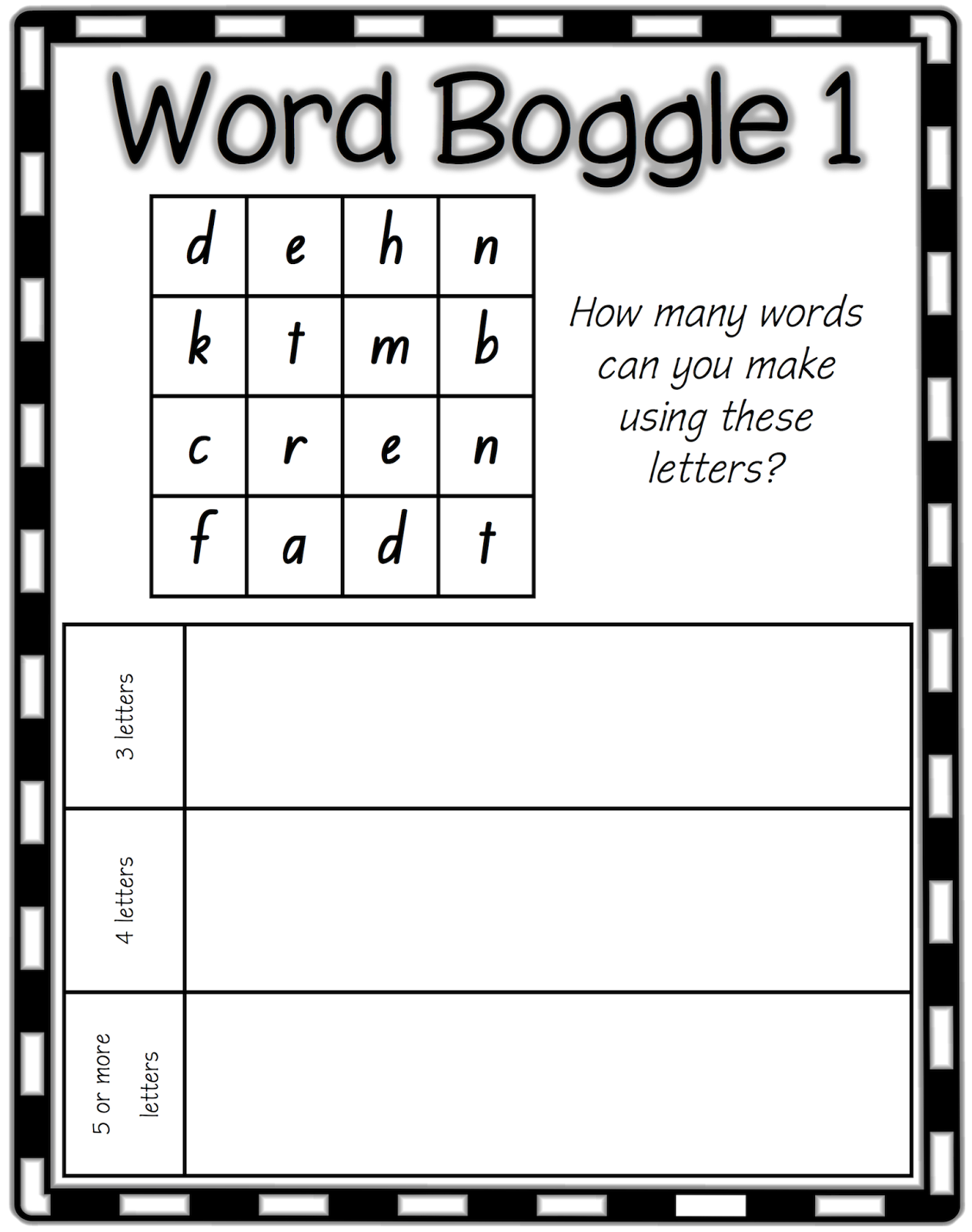 Word Games Boggle Work