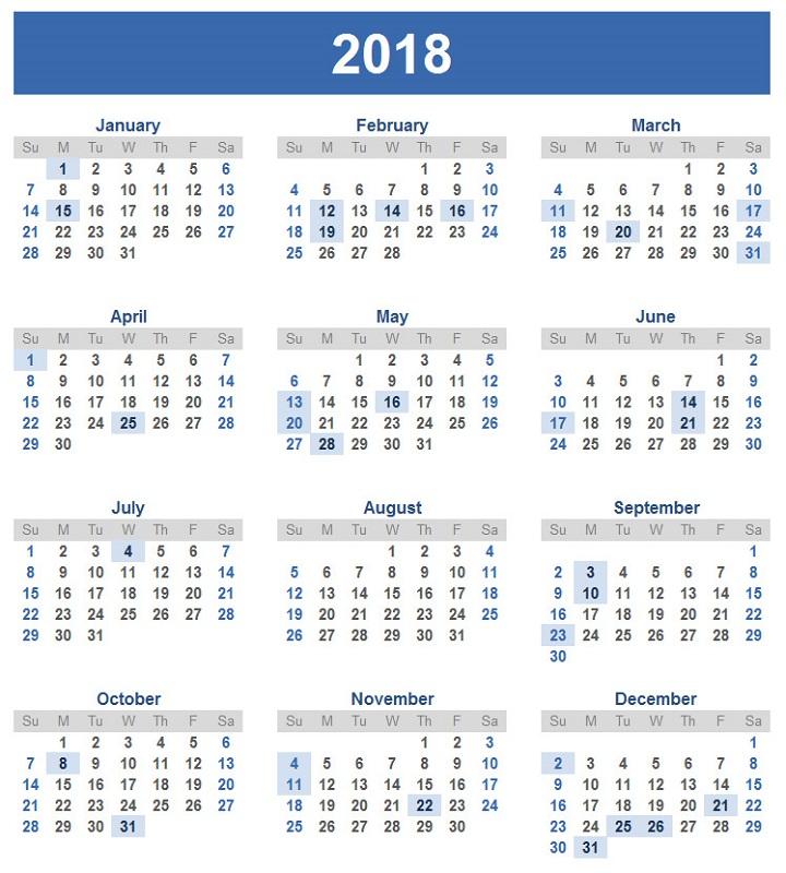 2018 Calendar Srilanka