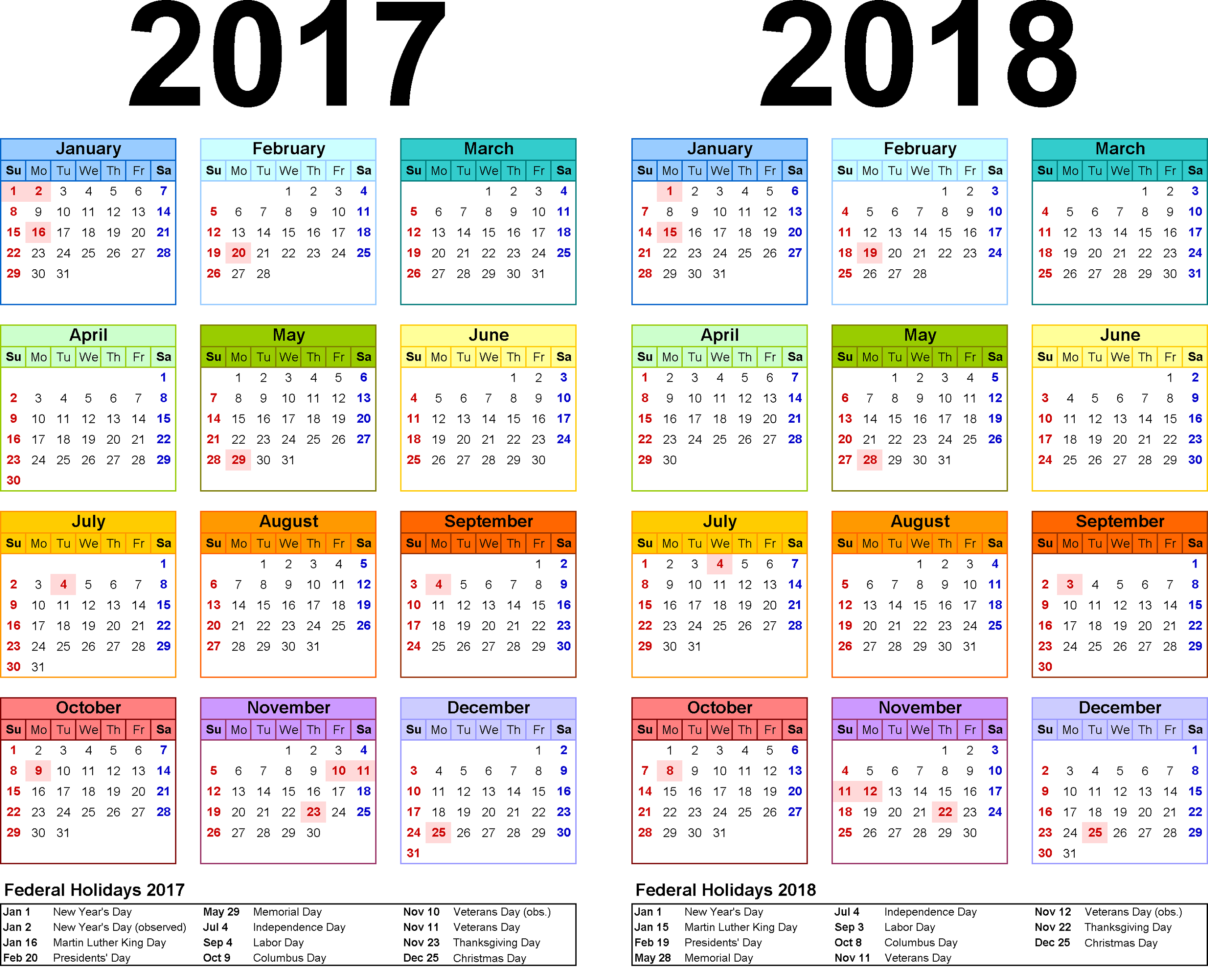 2018 Calendar Weekly