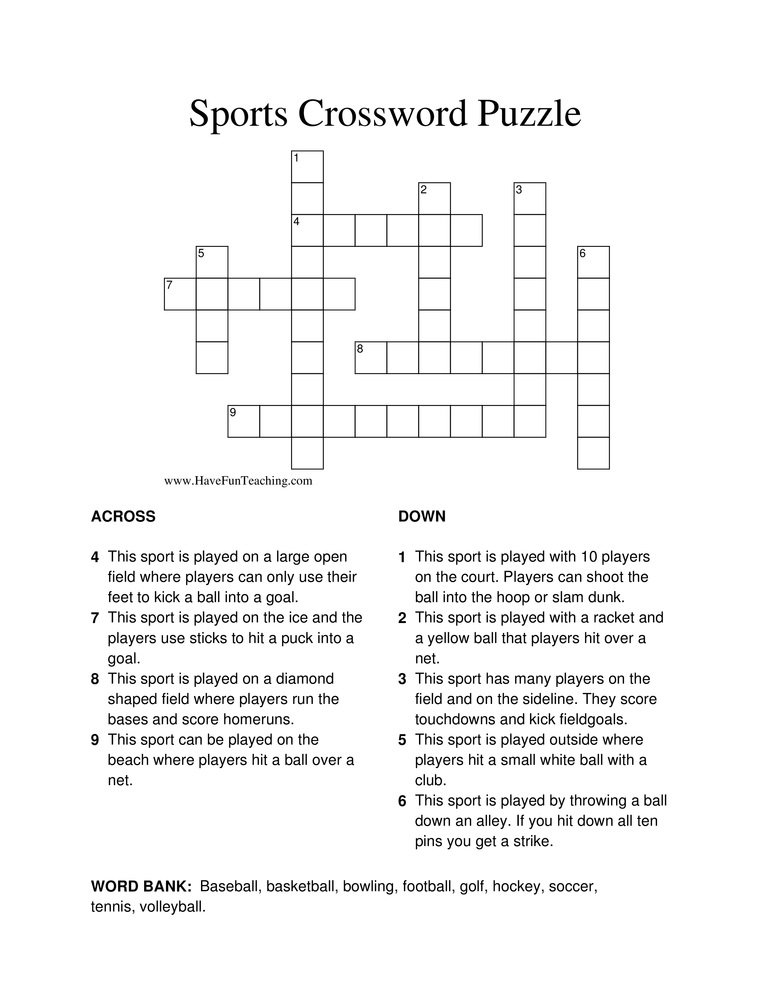 image about Fun Crossword Puzzles Printable called Printable Basketball Crossword Puzzles Match Shelter