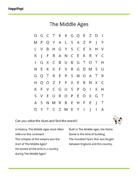Middle Ages Word Search Clues