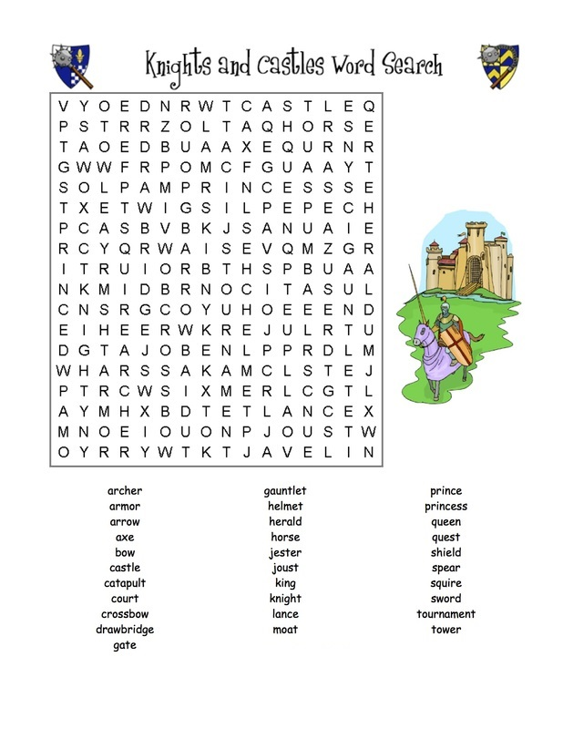 Middle Ages Word Search Knights