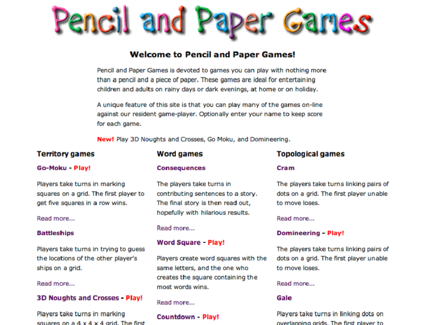 Pencil and Paper Games for Kids Instruction