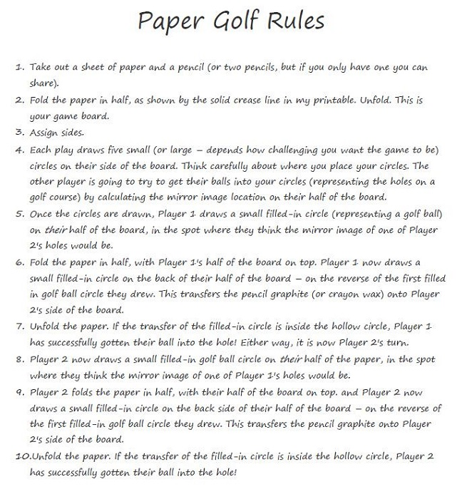 Pencil and Paper Games for Kids Rules