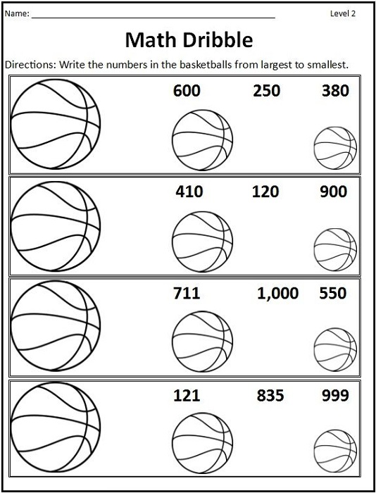Basketball Math Worksheets Dribble