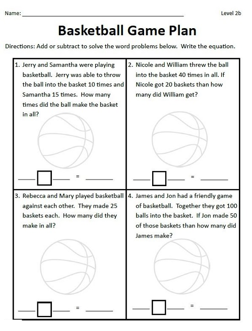 Basketball Math Worksheets Plan