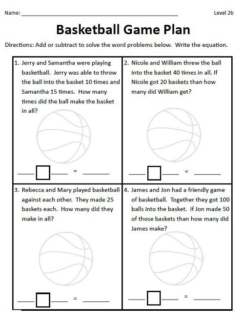 Basketball Math Worksheets Plan