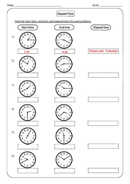 Elapsed Time Worksheets Analog