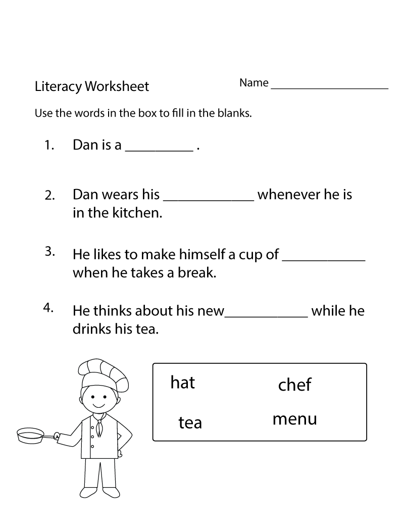 Free Literacy Worksheets Downloadable | Activity Shelter