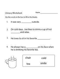 Free Literacy Worksheets Kindergarten