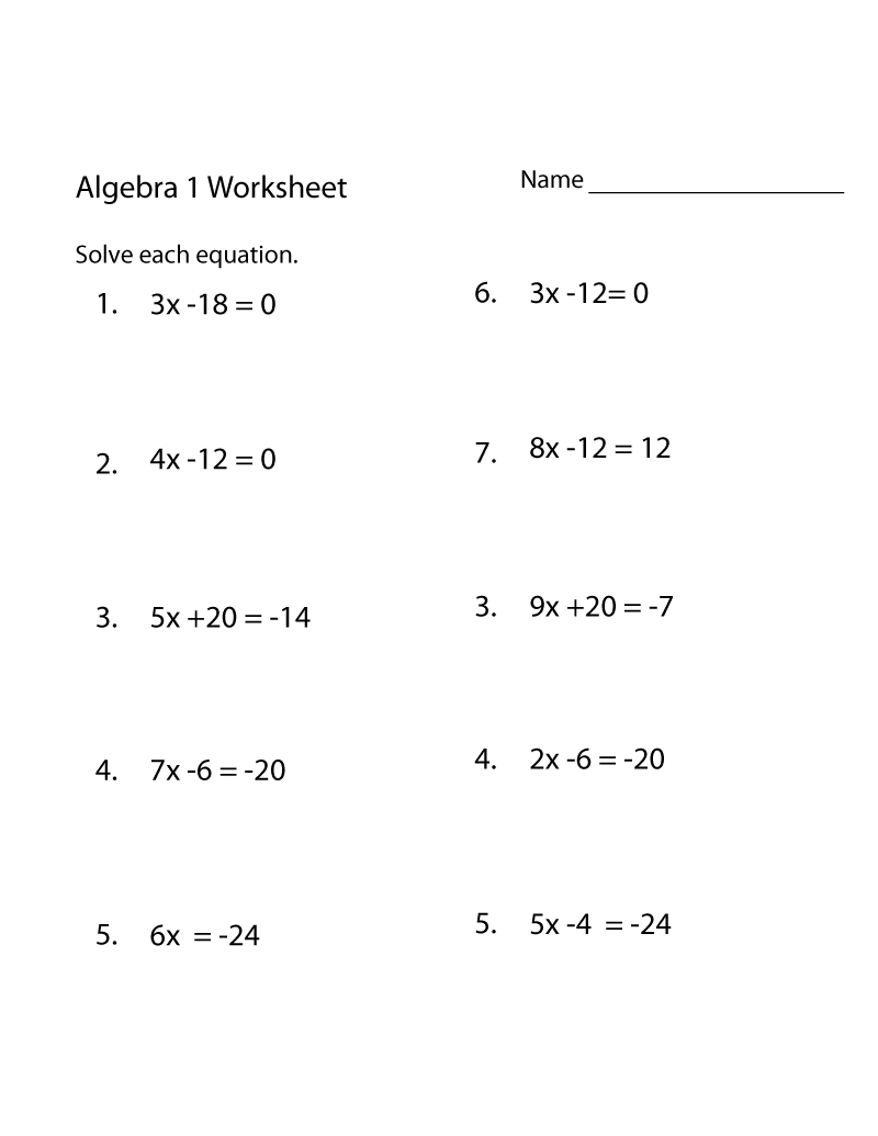 Free Math Practice Worksheets Algebra
