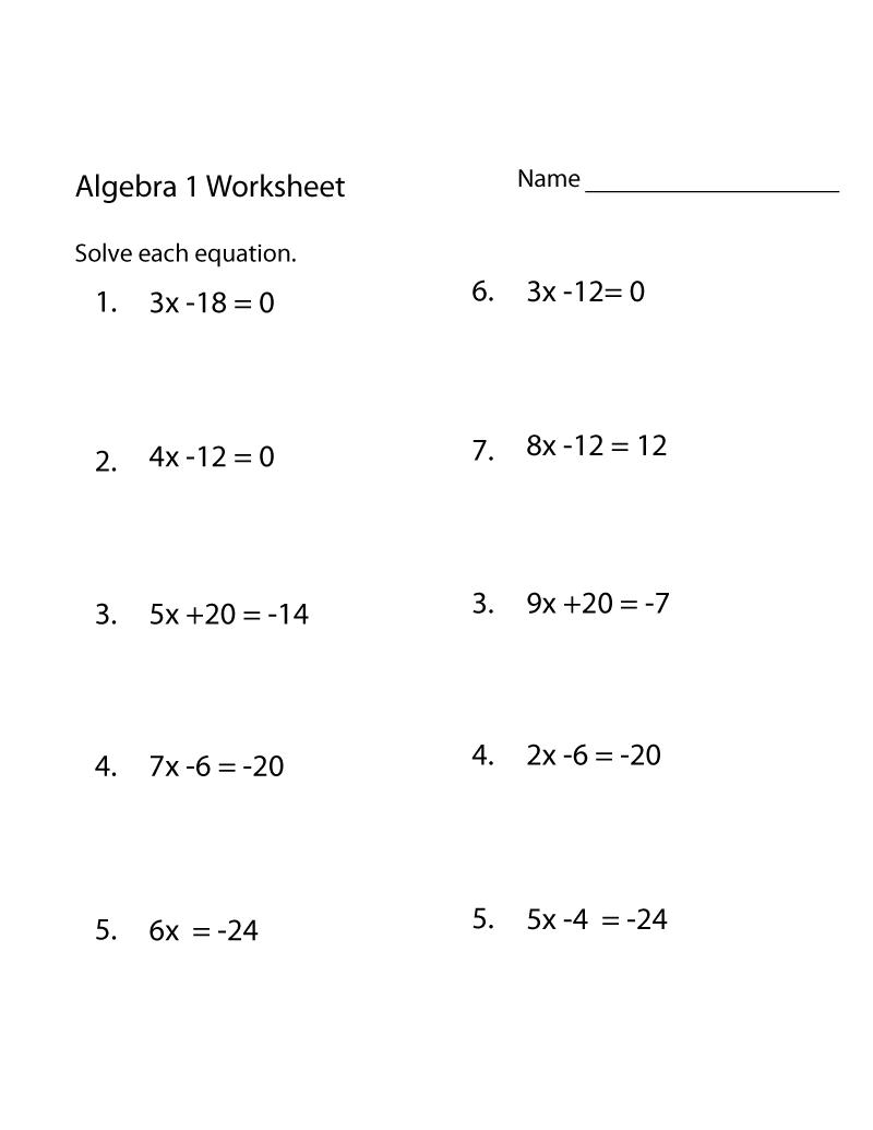 Free Math Practice Worksheets Algebra