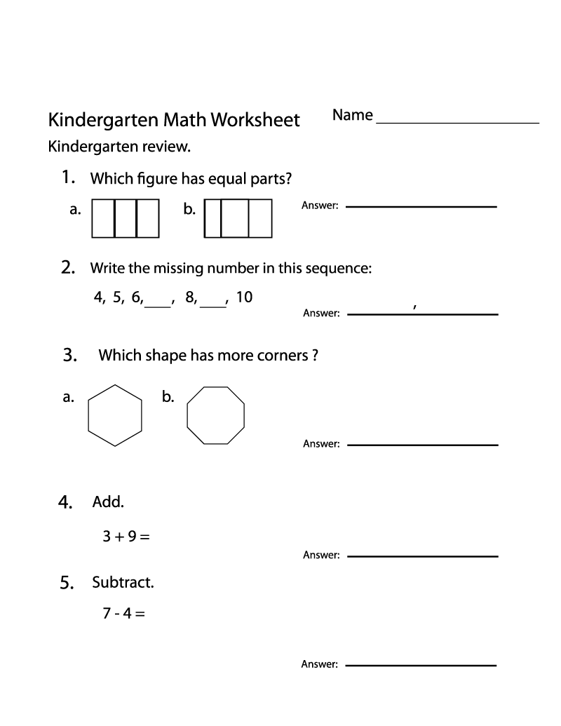 Free Math Practice Worksheets Kindergarten