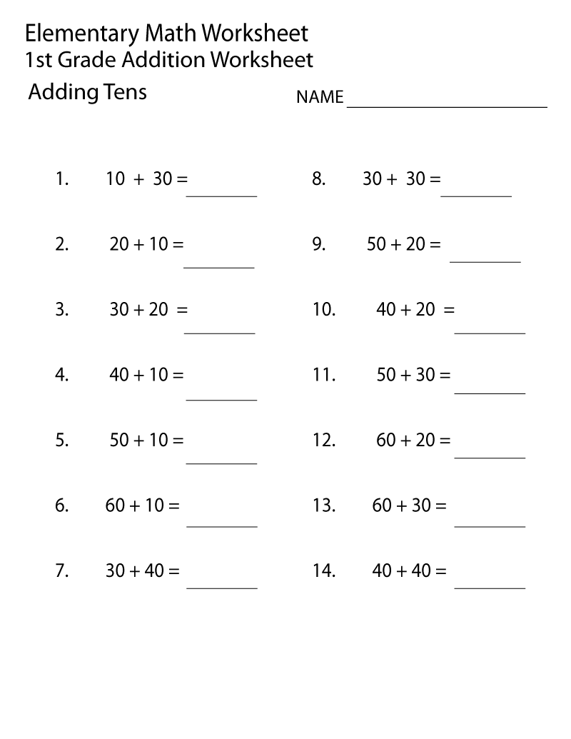 Free Printable Elementary Worksheets Addition