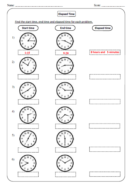 Elapsed Time Worksheet Analog