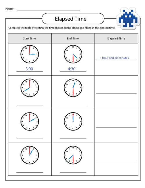 Elapsed Time Worksheet Children
