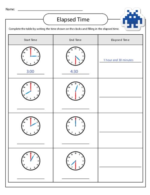 Elapsed Time Worksheet Children