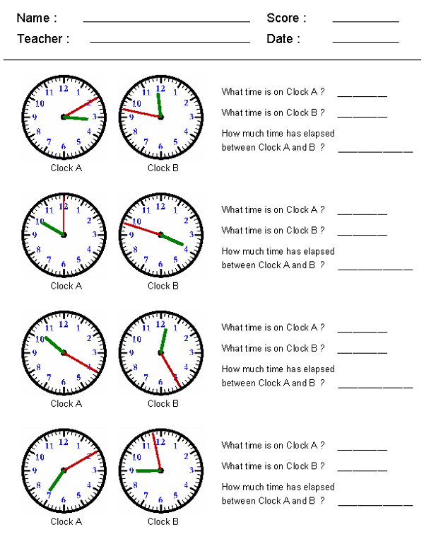 Elapsed Time Worksheet Clock