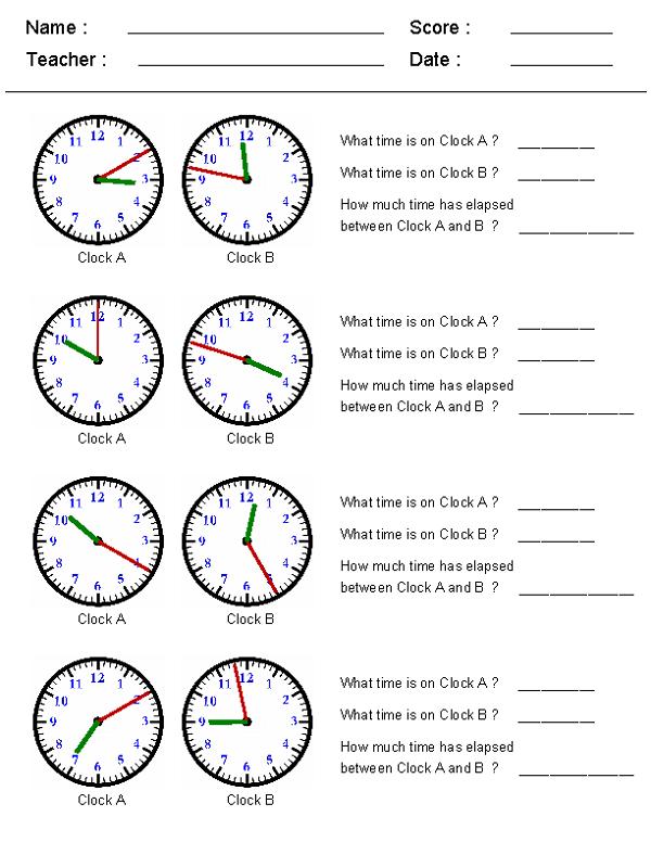 Elapsed Time Worksheet Clock