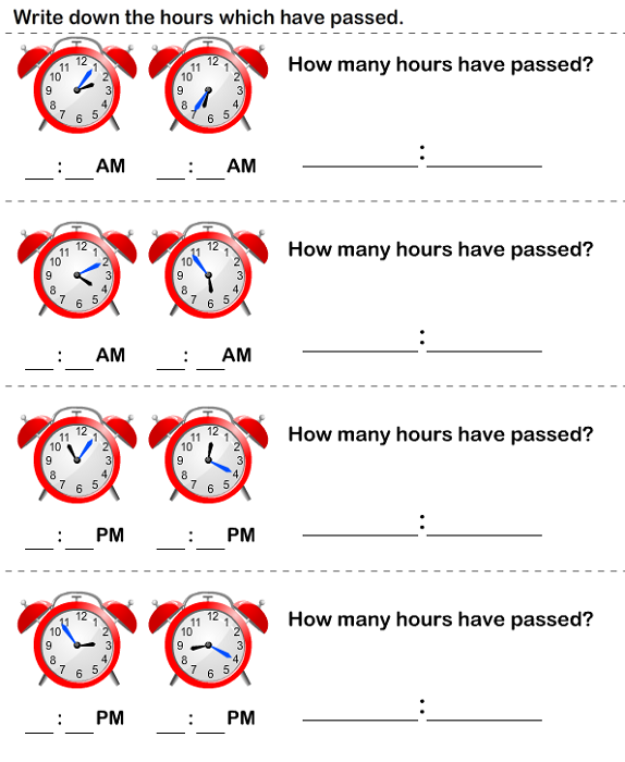 Elapsed Time Worksheet Kids