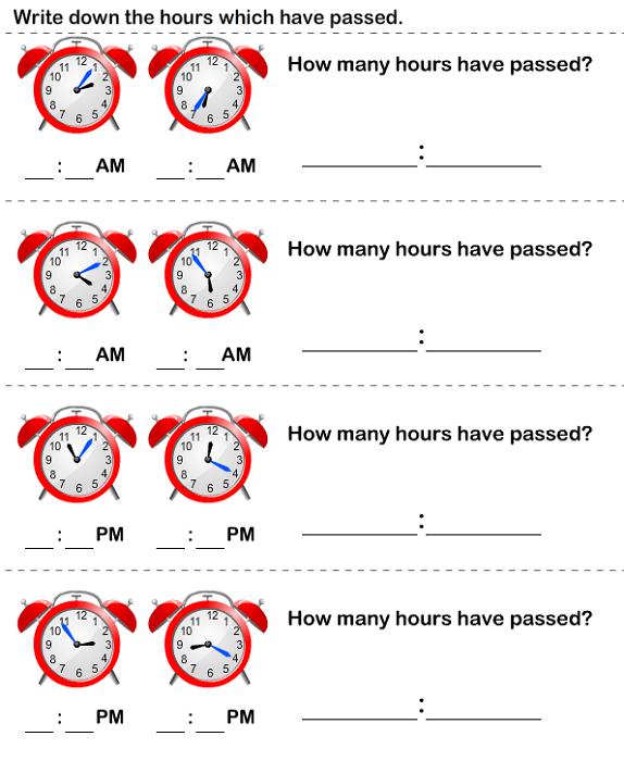 Elapsed Time Worksheet Kids
