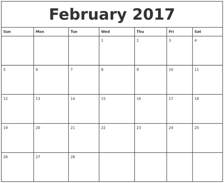Monthly Calendar Printable February