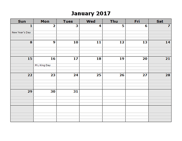 Monthly Calendar Printable January