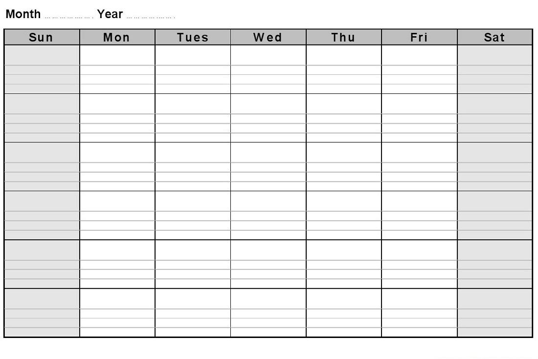 Monthly Calendar Printable Landscape