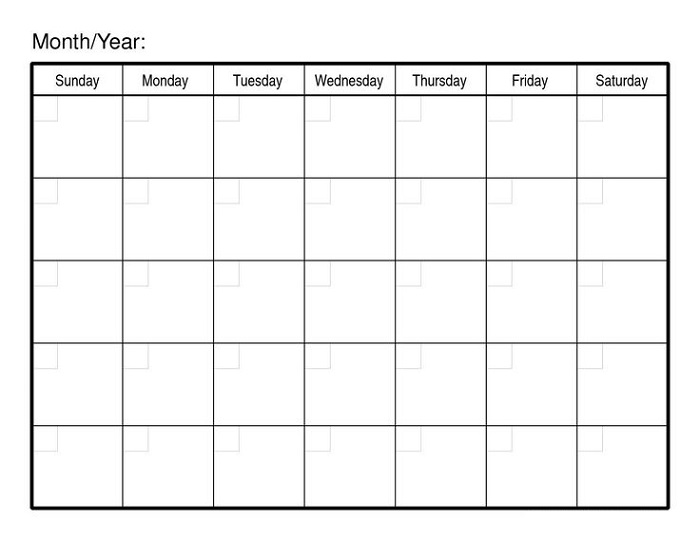 Monthly Calendar Printable Template