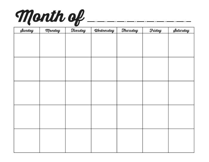 Printable Blank Monthly Calendar Blank