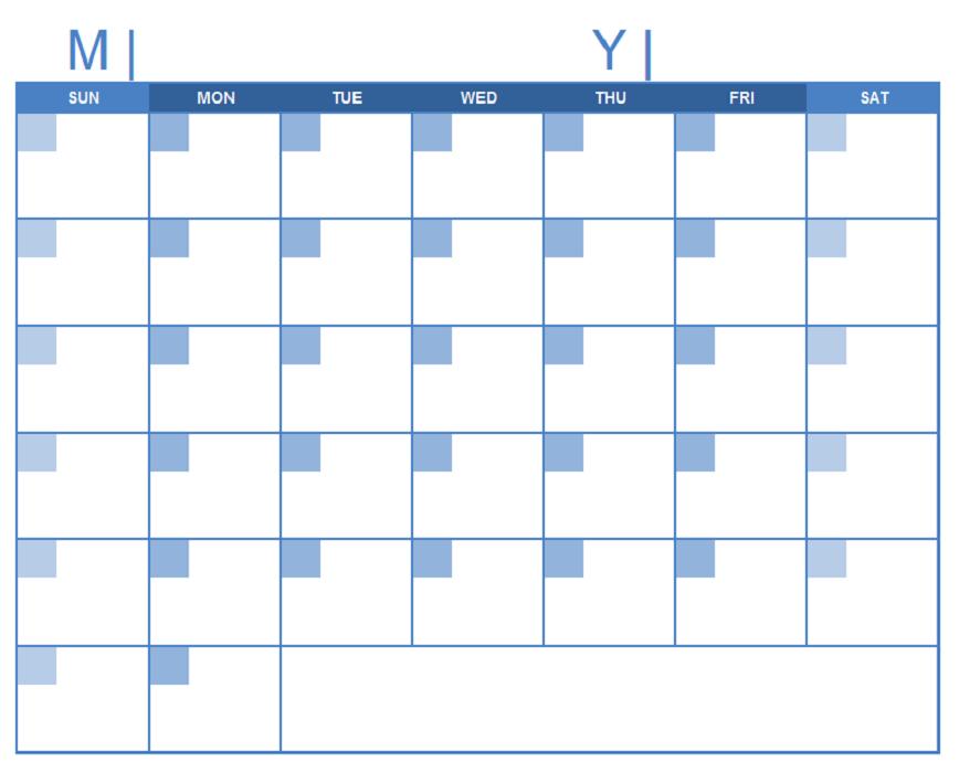 Printable Blank Monthly Calendar Bold