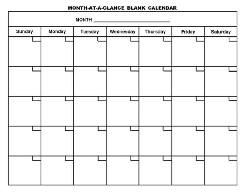 Printable Blank Monthly Calendar Free