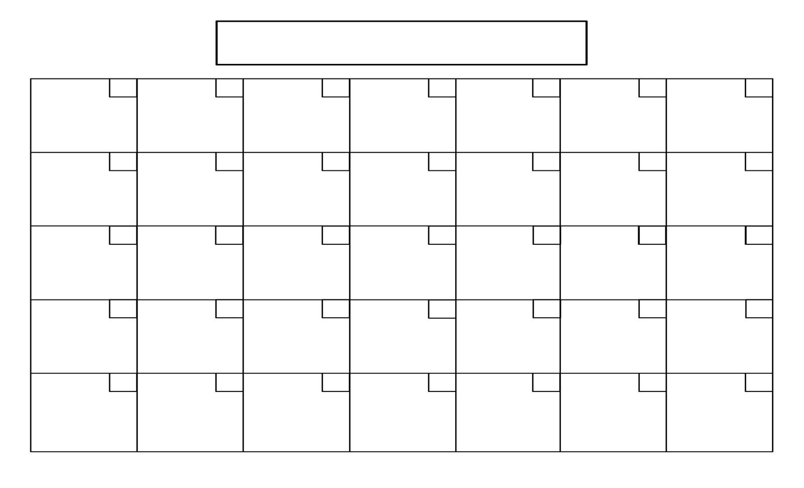Printable Blank Monthly Calendar Full