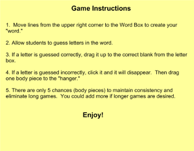 Rules of Hangman Instruction