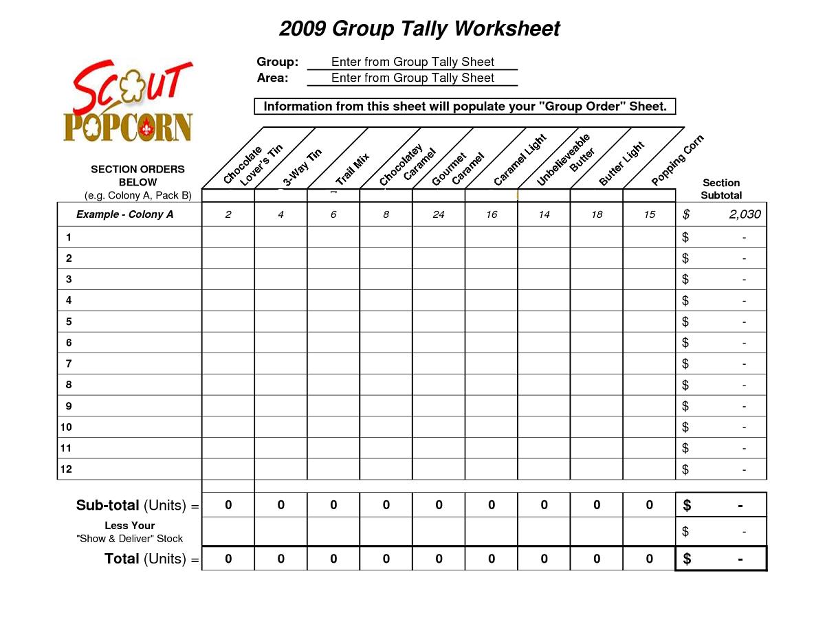 Tally Chart Worksheet Group