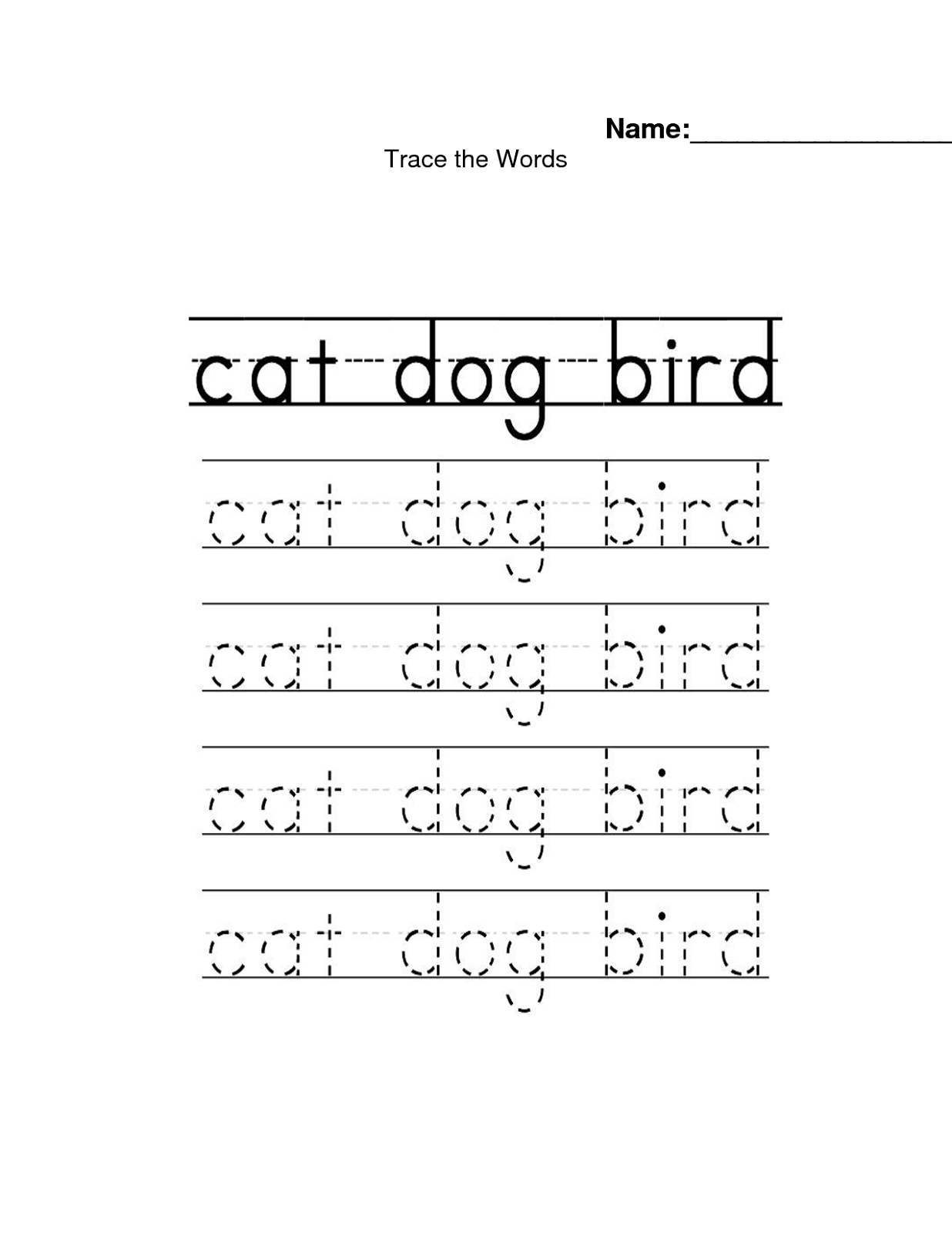Traceable Names Worksheets Animals