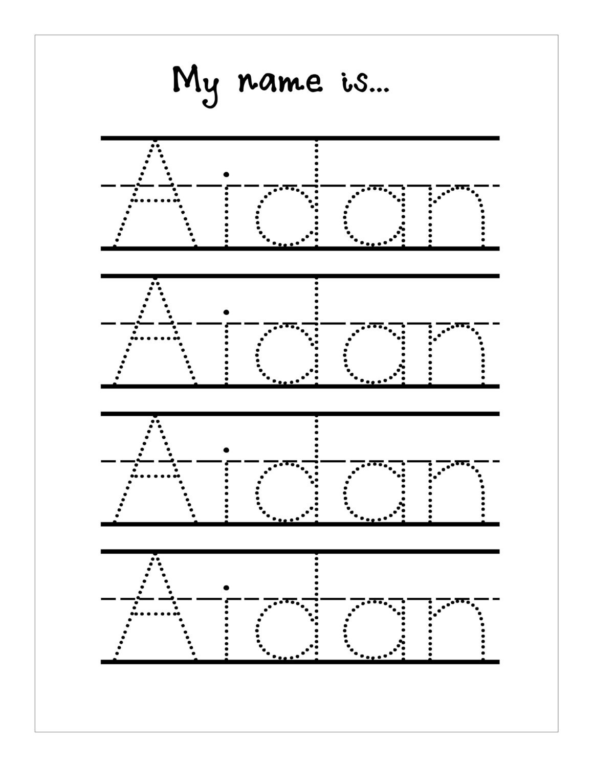 Traceable Names Worksheets Free