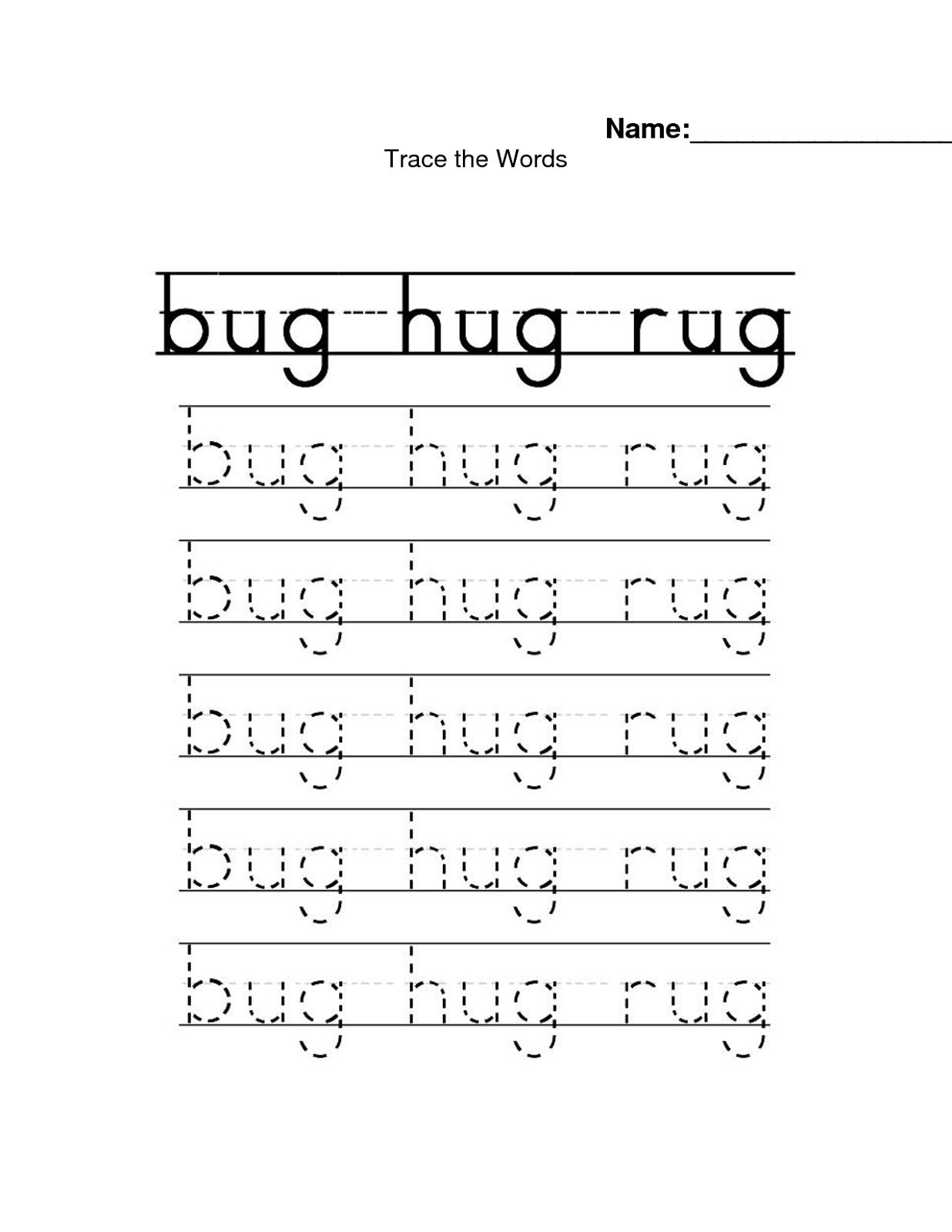 Traceable Names Worksheets Word