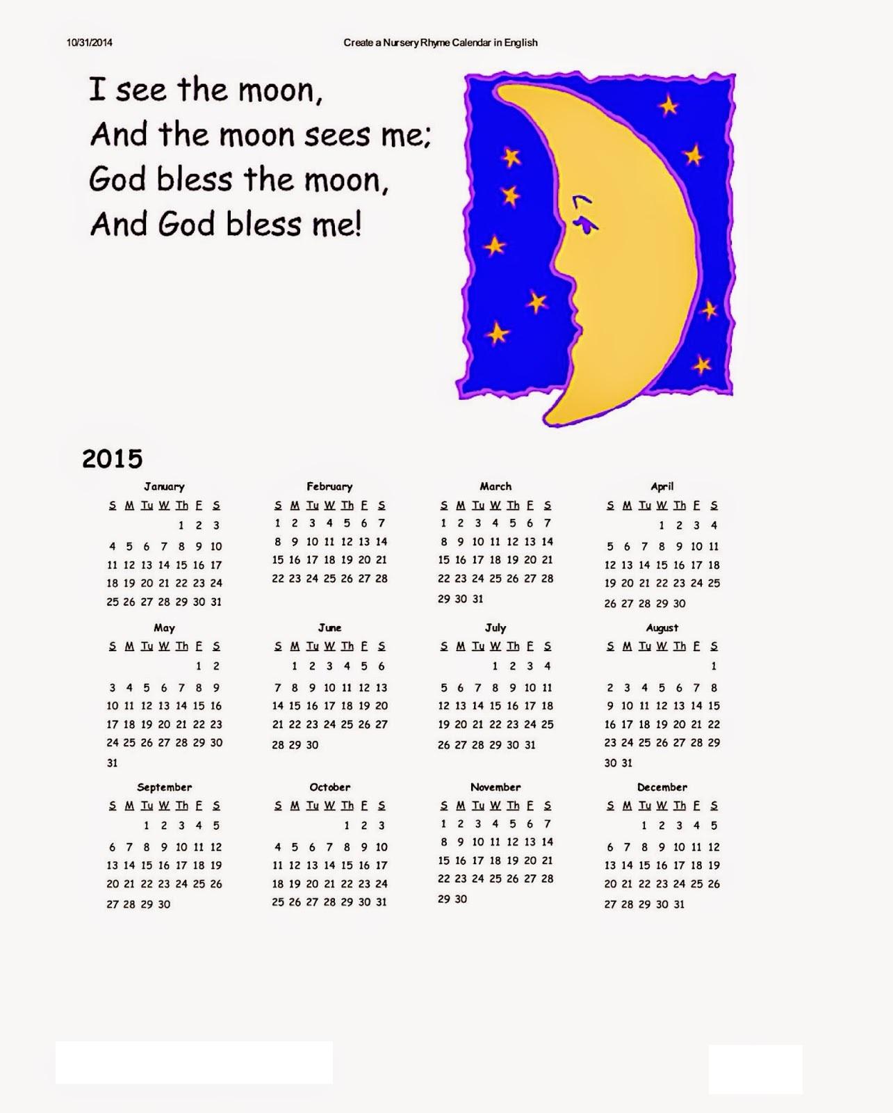 Dltk Kids Calendar 2015