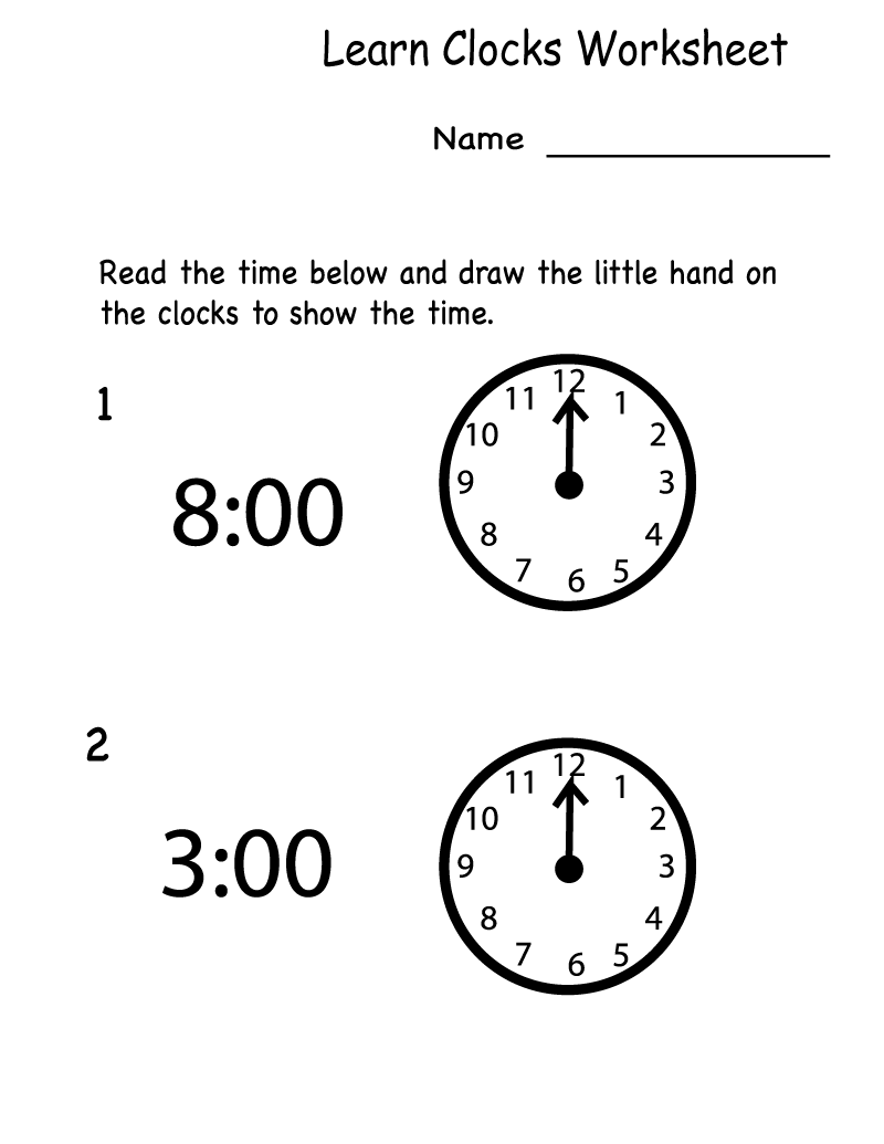 Free Learning Printables Clocks