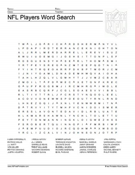 Nfl Word Search Players